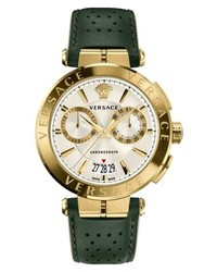 Versace Aion Chronograph Leather Strap Watch