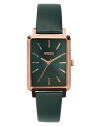 Breda Br Rectangular Leather Watch