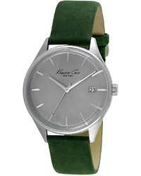 Kenneth Cole New York Green Leather Strap Watch 42mm 10029308