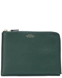 Dark Green Leather Zip Pouch