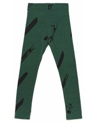 Omamimini Omamimini Leggings With Print Pine Green