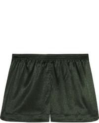 Stella McCartney Ellie Leaping Leopard Print Stretch Silk Pajama Shorts Dark Green