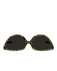 Martine Rose Green And Black Mykita Edition Leopard Sos Sunglasses