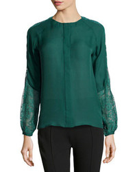 Dark green long sleeve blouse original 10023868