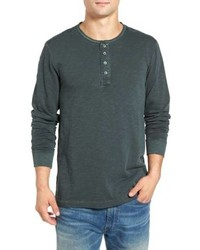 Dark Green Long Sleeve Henley Shirt
