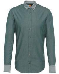 Hugo Boss Edipo E Slim Fit Cotton Twill Button Down Shirt Mgreen