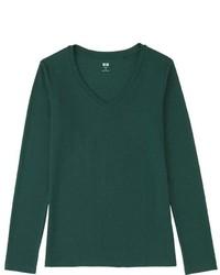 Uniqlo Supima Cotton Modal V Neck Long Sleeve T Shirt