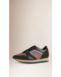 Burberry The Field Sneaker In Colour Block Leather And Mesh