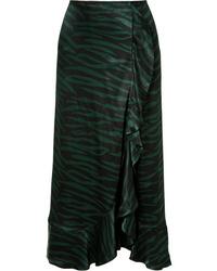 Ganni Cameron Ruffled Printed Satin Wrap Effect Skirt