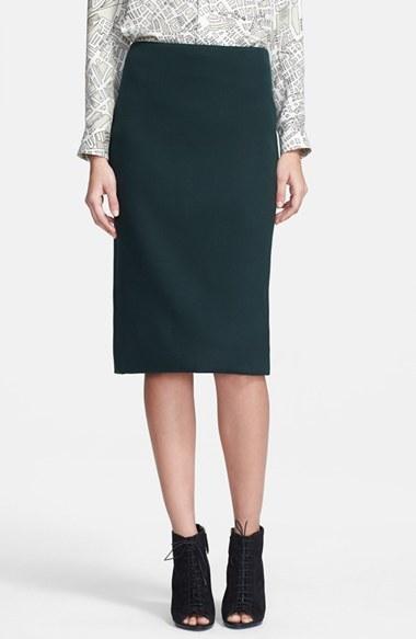 c4d5cc6445d679 ... Dark Green Midi Skirts Burberry Prorsum Stretch Wool Pencil Skirt ...