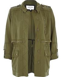 River Island Khaki Utility Military Casual Jacket