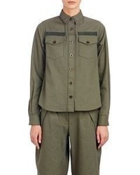 Sacai Luck Flared Back Military Shirt Jacket Green