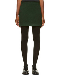 J.W.Anderson Forest Green Pilled Wool Mini Skirt