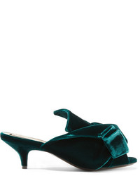 No.21 No 21 Knotted Velvet Mules Green