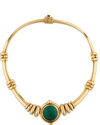 18k Gold And Carved Emerald Choker