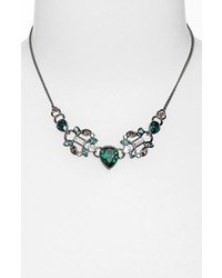 Givenchy Crystal Frontal Necklace Emerald Multi Hematite