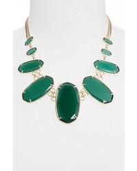 Kendra Scott Ginger Graduated Oval Stone Necklace Emerald Catseye Gold
