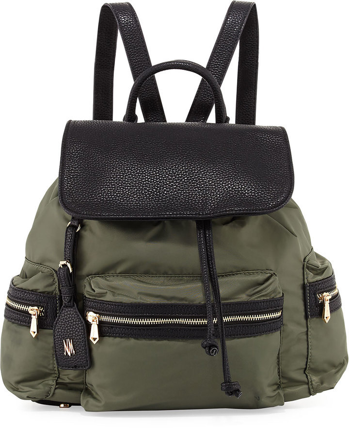 b6e0c90f42 $95, Neiman Marcus Elizabeth Contrast Trim Nylon Backpack