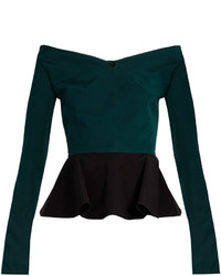 Emilio De La Morena Olena Bi Colour Silk Blend Peplum Top