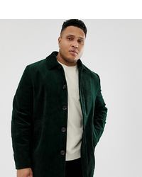 ASOS DESIGN Plus Single Breasted Trench Coat In Cord In Bottle Green