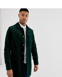 ASOS DESIGN Tall Single Breasted Trench Coat In Cord In Bottle Green