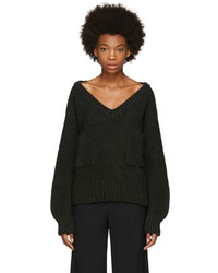 Chloé Green Oversized Pocket V Neck Sweater