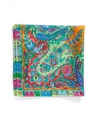 Etro Usa Paisley Silk Pocket Square Green One Size