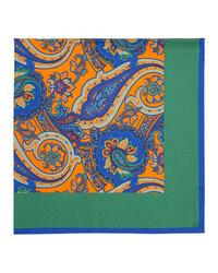 Kiton Paisley Center Silk Pocket Square Green