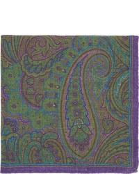Barneys New York Paisley Print Pocket Square Purple