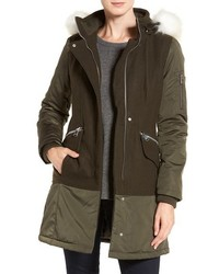 1 Madison Faux Fur Trim Mixed Media Drop Waist Coat