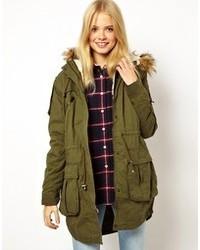 Asos Faux Fur Hooded Detachable Lined Parka Khaki