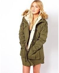 Asos Fur Hooded Detachable Lined Parka Black