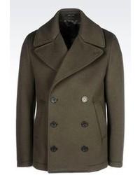 Giorgio Armani Pea Coat In Neoprene Effect Broadcloth