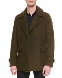 Vince Wool Blend Pea Coat Khaki