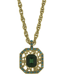 1928 Jewelry 1928 Green And Blue Stone Gold Tone Pendant Necklace