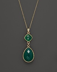 Bloomingdale's Green Onyx Pendant Necklace In 14k Yellow Gold 18