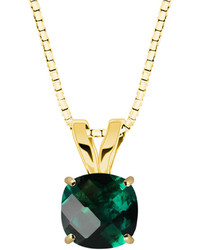 Fine Jewelry Lab Created Checkerboard Emerald 10k Yellow Gold Pendant Necklace