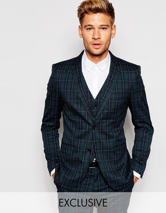 Selected Homme Plaid Suit Jacket In Skinny Fit 215 Asos