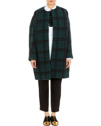 Marni Plaid Cocoon Coat Green