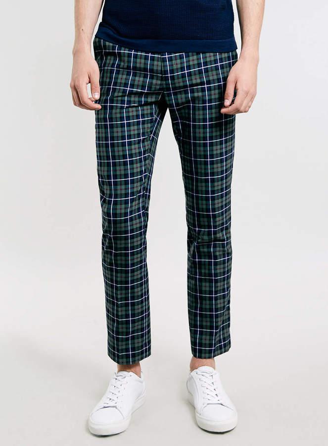 Dress Pants Topman Green Checked Cropped Smart