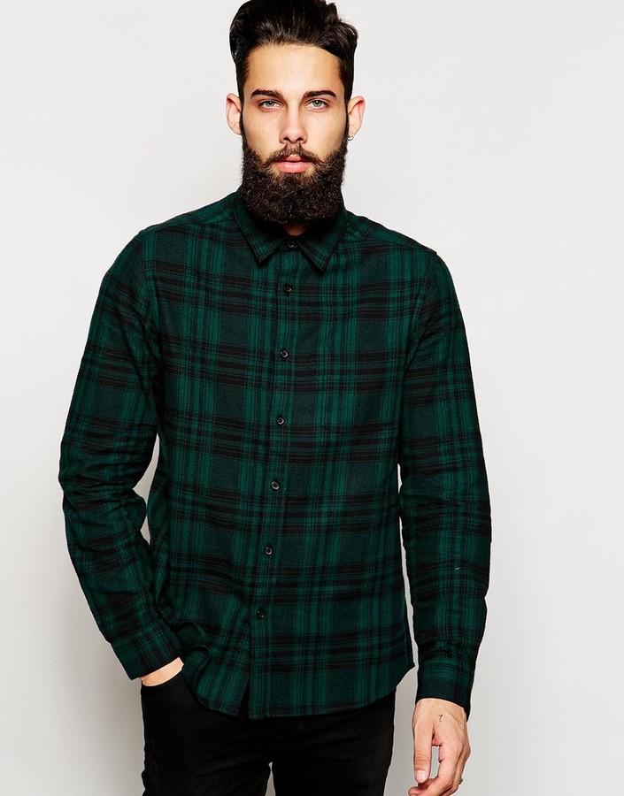Asos ASOS BRAND ASOS Shirt In Long Sleeve Shirt With Brushed Mid ...