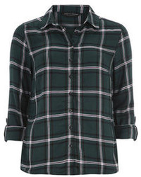 Dorothy perkins green long sleeve check shirt medium 89678