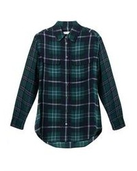 Women's Dark Green Plaid Dress Shirt, Navy Ripped Skinny Jeans ...