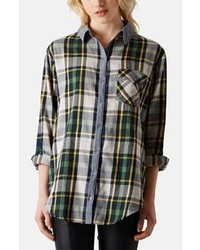 Topshop Marvin Oversized Plaid Shirt Green Multi 8