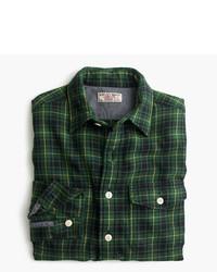 Dark Green Plaid Flannel Long Sleeve Shirt