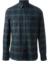 Dark Green Plaid Long Sleeve Shirt