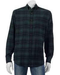 Classic fit plaid flannel button down shirt medium 850962