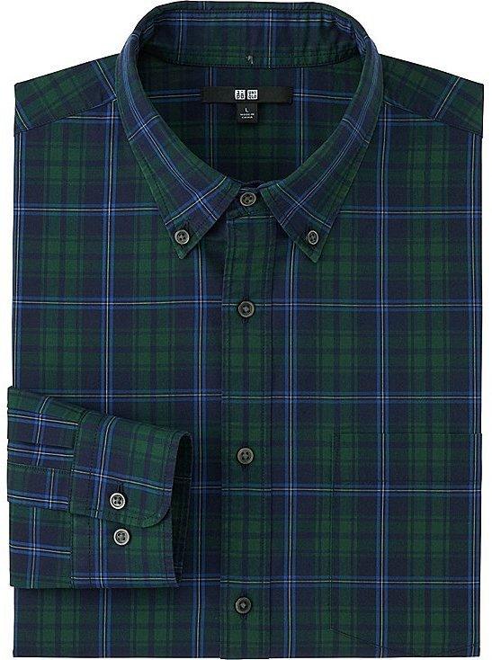 381acc1ba2b4 ... Dark Green Plaid Long Sleeve Shirts Uniqlo Extra Fine Cotton Broadcloth Checked  Long Sleeve Shirt ...
