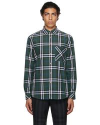 Burberry Green Poplin Check Shirt