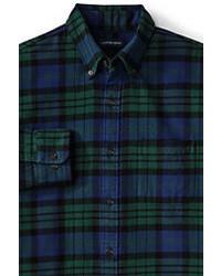 Lands' End Slim Fit Long Sleeve Pattern Flannel Shirt Dark Sapphire Plaid